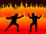 Fencing Sport on Fire Background