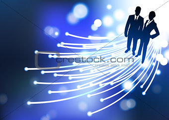 businessman and businesswoman fiber optic internet background