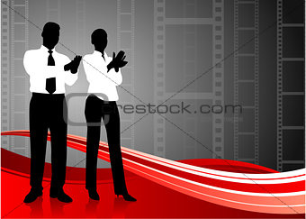 business team clapping on film reel background