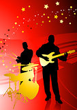 Music Band on Abstract Red Background