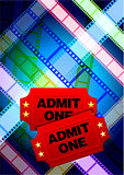 Movie tickets with multi color film reel internet background
