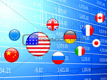 Flag Internet Buttons on Financial Background