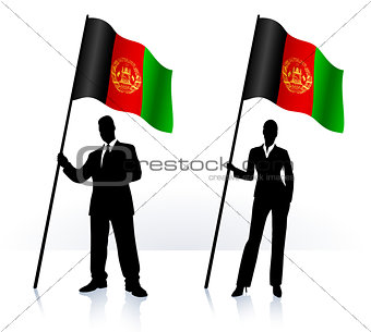 Business silhouettes with waving flag of Afganistan