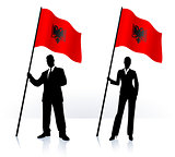 Business silhouettes with waving flag of Albania