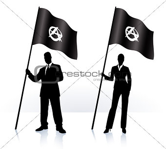 Business silhouettes with waving flag of Anarchy