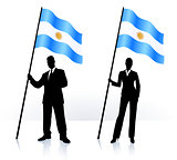 Business silhouettes with waving flag of Argentina