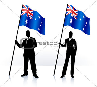 Business silhouettes with waving flag of Australia