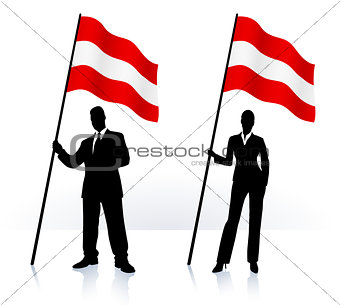 Business silhouettes with waving flag of Austria