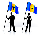 Business silhouettes with waving flag of Barbados
