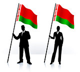 Business silhouettes with waving flag of Belarus