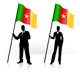 Business silhouettes with waving flag of Camerun
