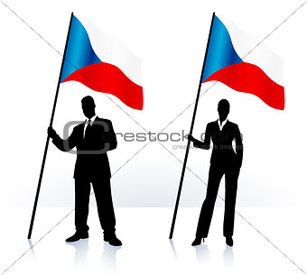 Business silhouettes with waving flag of Czech Republic