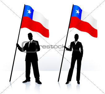 Business silhouettes with waving flag of Chile