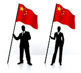 Business silhouettes with waving flag of China