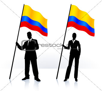 Business silhouettes with waving flag of Columbia