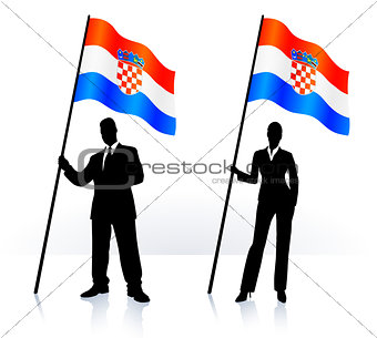 Business silhouettes with waving flag of Croatia