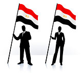 Business silhouettes with waving flag of Egypt