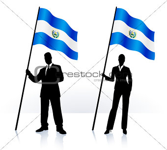 Business silhouettes with waving flag of El Salvador