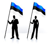 Business silhouettes with waving flag of Estonia