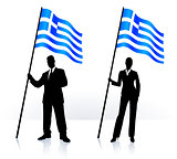 Business silhouettes with waving flag of Greece