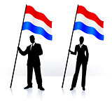 Business silhouettes with waving flag of Holland