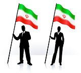 Business silhouettes with waving flag of Iran