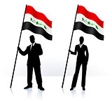 Business silhouettes with waving flag of Iraq