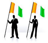 Business silhouettes with waving flag of Ireland