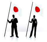 Business silhouettes with waving flag of Japan