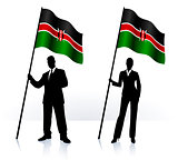 Business silhouettes with waving flag of Kenia