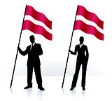 Business silhouettes with waving flag of Latvia