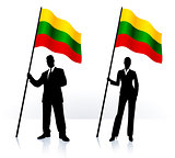 Business silhouettes with waving flag of Lithuania
