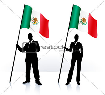 Business silhouettes with waving flag of Mexico