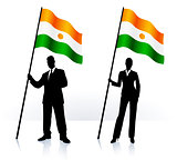 Business silhouettes with waving flag of Niger