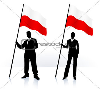 Business silhouettes with waving flag of Poland