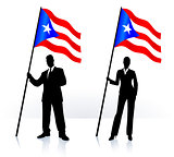 Business silhouettes with waving flag of Puerto Rico