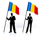 Business silhouettes with waving flag of Romania
