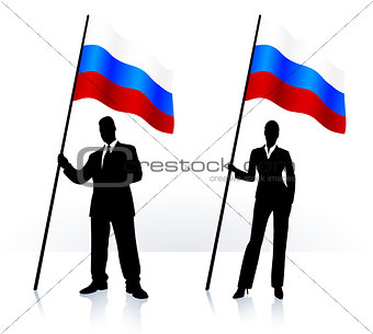 Business silhouettes with waving flag of Russia