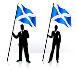 Business silhouettes with waving flag of Scotland