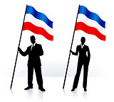 Business silhouettes with waving flag of serbia and montenegro