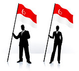 Business silhouettes with waving flag of Singapore