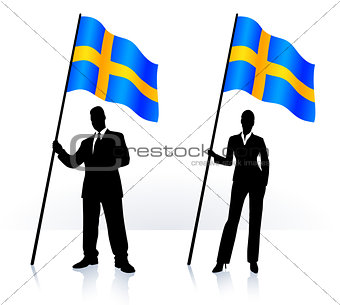 Business silhouettes with waving flag of Sweden