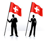 Business silhouettes with waving flag of switzerland