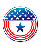 Patriotic American stars and stripes button