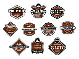 Collection of different Premium and Quality labels