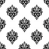Floral seamless arabesque pattern with damask motifs