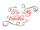 Calligraphic header Be My Valentine