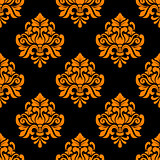Black and orange seamless floral pattern