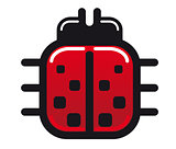 Cartoon ladybug glossy icon