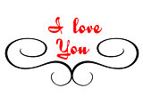 Calligraphic header with I love you text